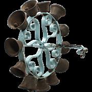 Antique Hand-Crank Cast Iron Ring of Bells