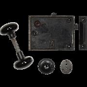 Antique Rim Lock Set with Porcelain Knob Set and Escutcheons, c.1857