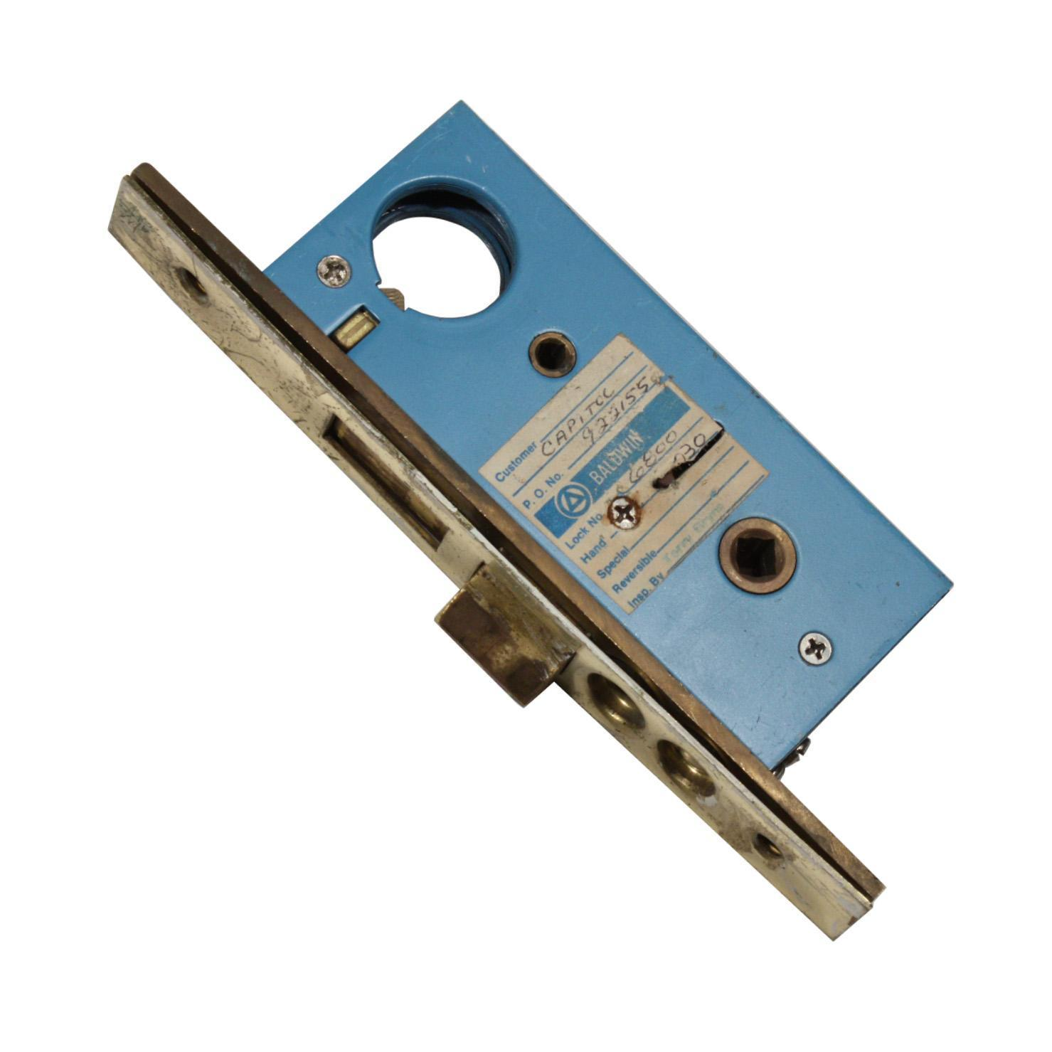 "Rare Antique Exterior Mortise Lock by Baldwin, Narrow 1-1/2"" Backset"