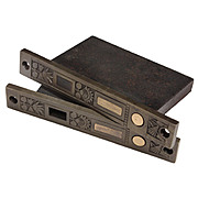 Delightful Pair of Antique Eastlake Pocket Door Locks for Double Doors, Nashua Lock Co.