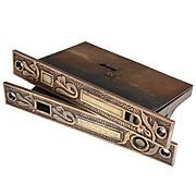 """Pair of Antique Mallory & Wheeler """"Arabic"""" Pocket Door Locks for Double Doors"""