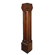 Salvaged Antique Boxed Arts and Crafts Newel Post, Oak