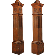 Salvaged Antique Oak Newel Posts, Late 19th Century