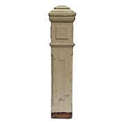 Reclaimed Antique Newel Post, Carved Sunburst Detail