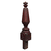 Reclaimed Antique Turned Walnut Newel Post, Late 19th Century