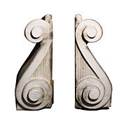 Elegant Pair of Terracotta Antique Corbels with Spiral Design