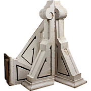 Pairs of Antique Wood Corbels with Crackled Paint