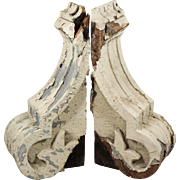 Salvaged Antique Corbel Pairs with Chippy Paint, Late 19th Century