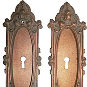"Antique Georgian Cast Bronze Pocket Door Plates, ""Largo"" Pattern Yale"