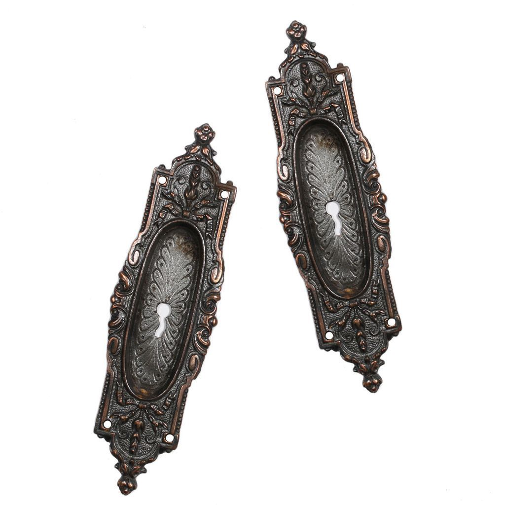Gorgeous Antique Cast Bronze Pocket Door Plates -- ONE PAIR AVAILABLE