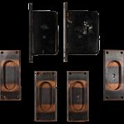 Complete Antique Pocket Door Hardware Set for Double Doors, Yale & Towne