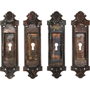 Antique Neoclassical Cast Iron Pocket Door Plates, Early 1900s