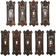 "Salvaged Cast Iron ""Chatham"" Pocket Door Plates, Russel and Erwin, 1909"