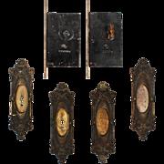 """Complete Antique """"Marseilles"""" Double Pocket Door Hardware Set by Corbin, c. 1905"""