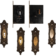 "Complete Antique ""Marseilles"" Double Pocket Door Hardware Set by Corbin, Early 1900s"