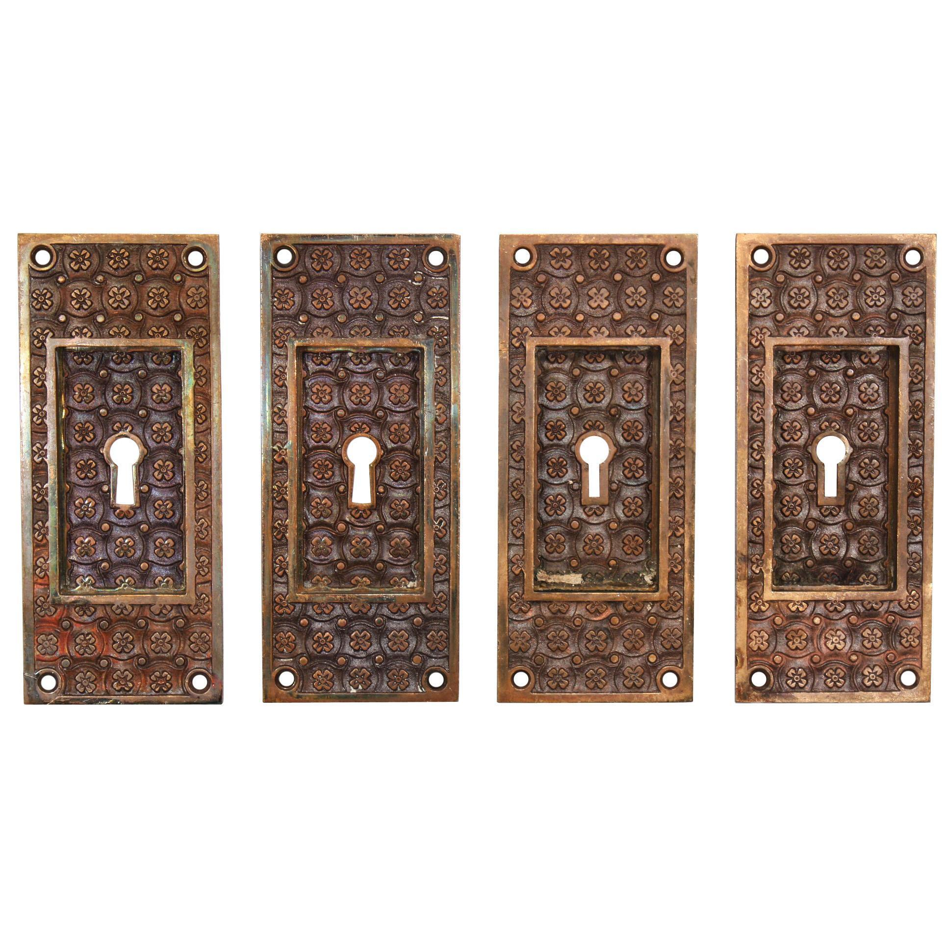"Antique Cast Bronze ""Madras"" Pocket Door Plates by Yale & Towne, c.1894"