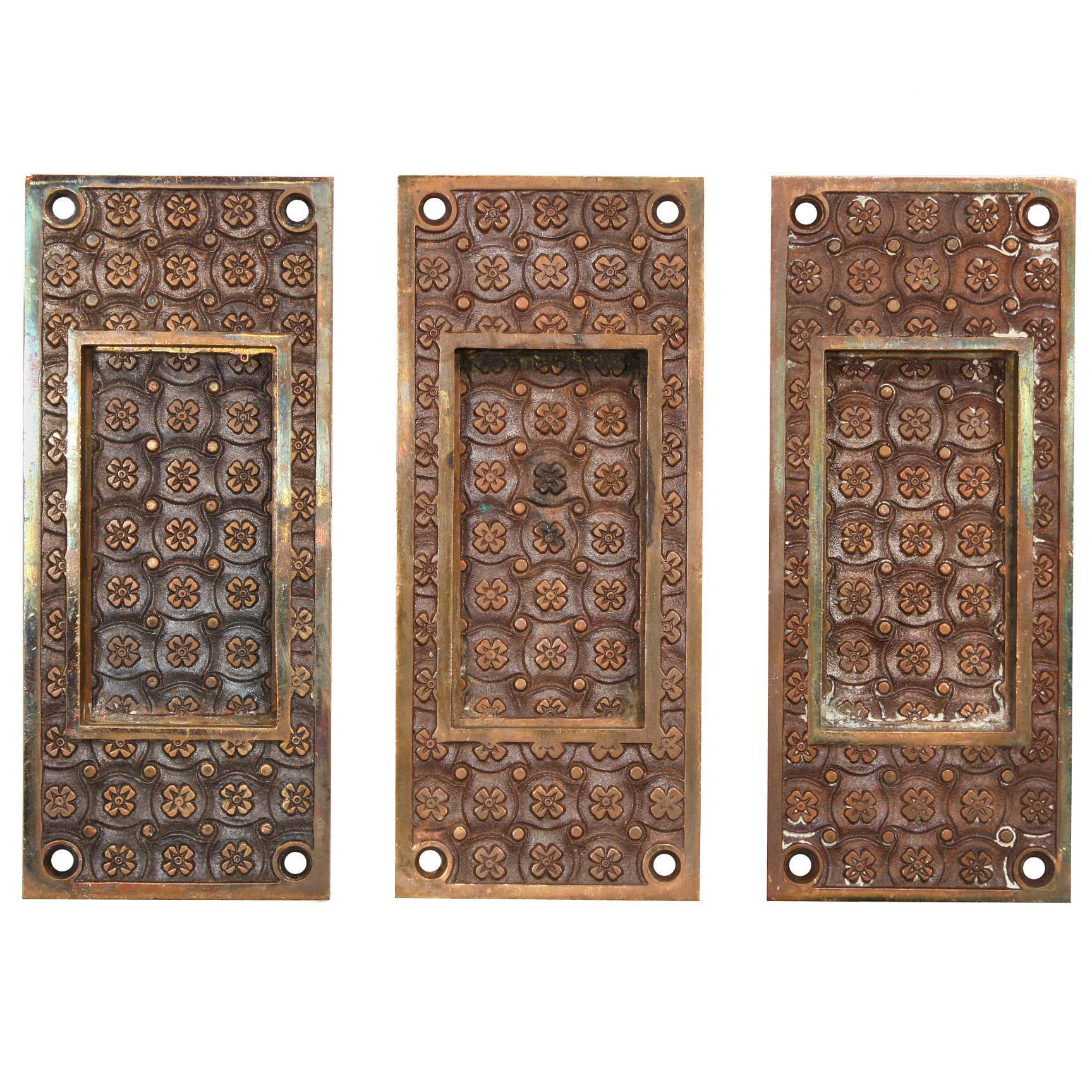 "Antique ""Madras"" Cast Bronze Pocket Door Plates by Yale & Towne, c.1894"