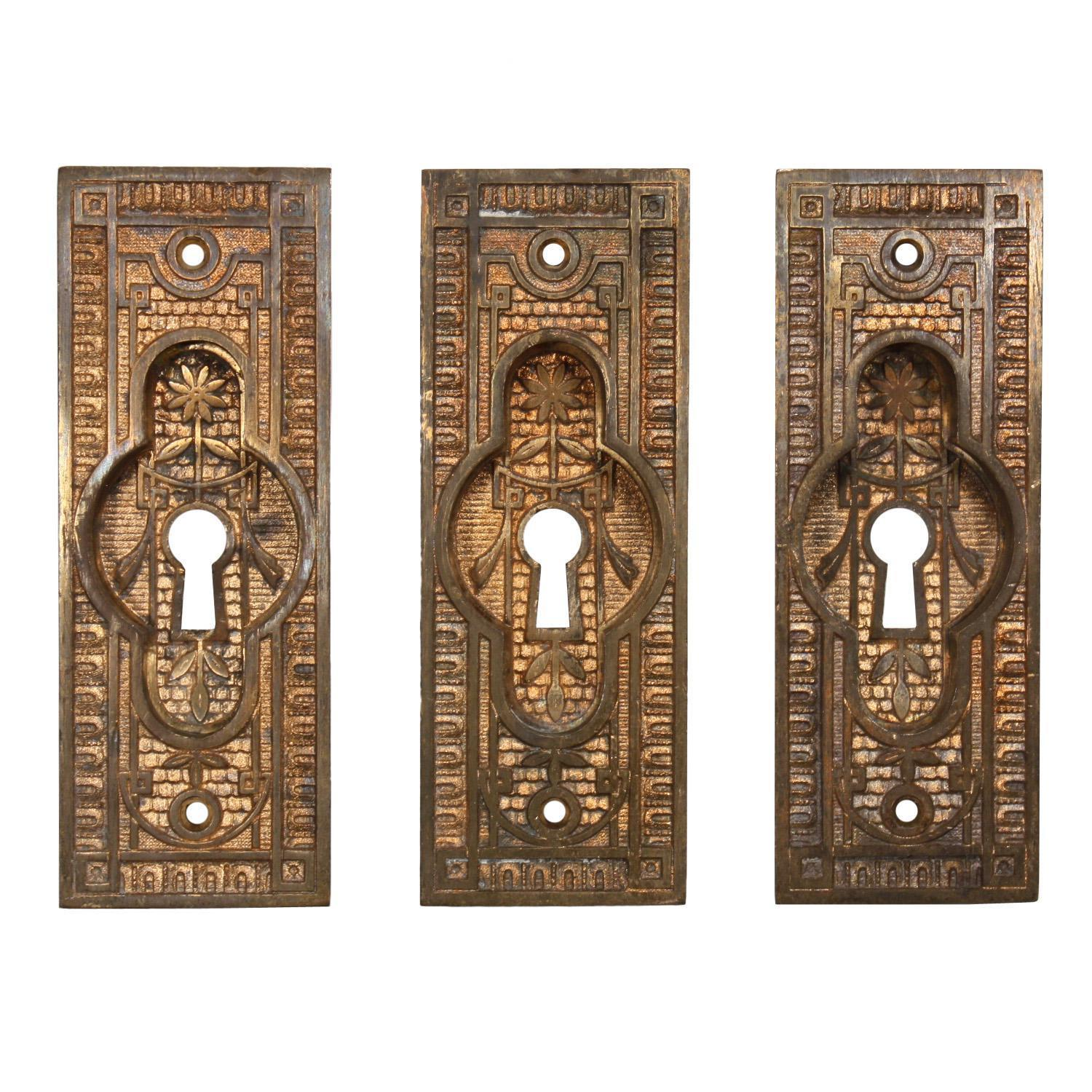 Delightful Antique Eastlake Cast Bronze Pocket Door Plates, Late 19th Century