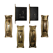 """Complete Antique """"Manhattan"""" Double Pocket Door Hardware Set by Russell and Erwin"""