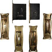 "Complete Antique ""Manhattan"" Double Pocket Door Hardware Set by Russell and Erwin"
