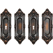 """Antique """"St. Julien"""" Pocket Door Plate Pairs by Russell & Erwin, c. 1909"""