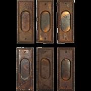 Antique Egg-and-Dart Pocket Door Plates, c. 1915
