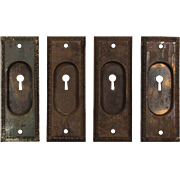 Antique Egg-and-Dart Pocket Door Plates, Early 1900s