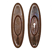 Antique Oval Pocket Doorplate Pairs, Early 1900s
