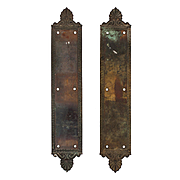 """Antique """"Jerome"""" Push Plates by Russell  & Erwin, Cast Bronze"""
