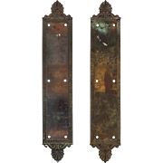 "Antique ""Jerome"" Push Plates by Russell  & Erwin, Cast Bronze"