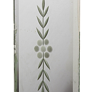 Antique Mirrored Push Plate, Wheel Cut Flower