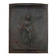 Antique Figural Cast Iron Summer Cover, Greek Goddess Amphitrite