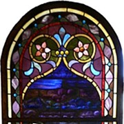 Rare William Reith Antique Figural Stained Glass Window, Angel with Crown of Thorns