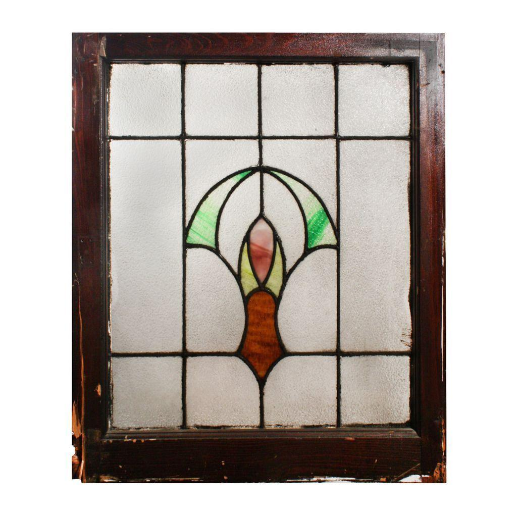 Wonderful Antique American Stained Glass Window with Flower