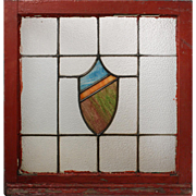 Splendid Antique American Arts & Crafts Stained Glass Window with Shield