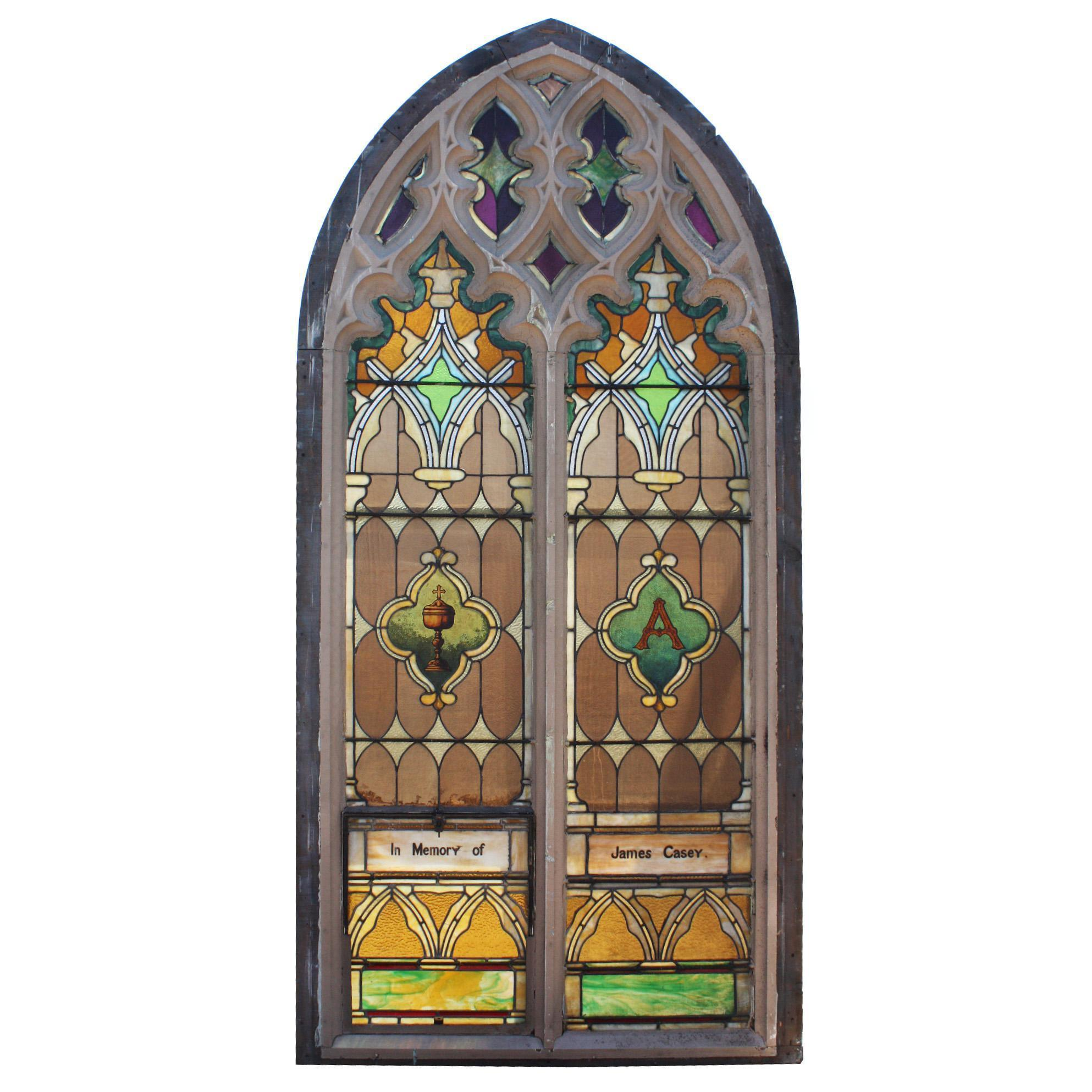 Antique Gothic Arch Window, Late 19th Century