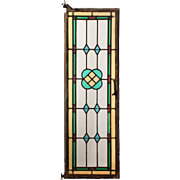 Antique American Stained Glass Window with Metal Frame