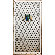Antique American Arts & Crafts Stained Glass Windows with Shields