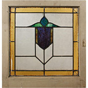 Antique American Stained Glass Window with Multi-Colored Slag Glass