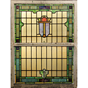 Antique American Stained Glass Sash Set, c. Late 1800s
