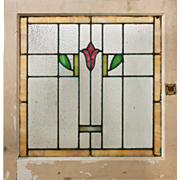 Antique American Stained Glass Window with Flower