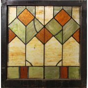 Antique American Arts & Crafts Stained Glass Window, c.1910