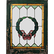 Antique American Stained Glass Windows with Wreaths