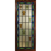 Antique American Stained and Painted Glass Window, Fleur-De-Lis
