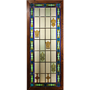 Antique American Stained and Painted Glass Window, Crowns