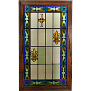 Antique American Stained and Painted Glass Window, Celtic Cross