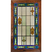 Antique American Stained and Painted Glass Window, Fleur De Lis
