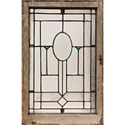 Antique Beveled and Stained Glass Window, Hand-Cut Star