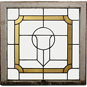 American Stained and Leaded Glass Window with Shield