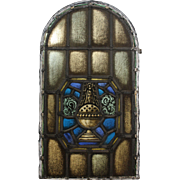 Antique Arched American Stained Glass Window, Thurible